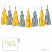 Andaz Press Hanging Tissue Paper Tassel Garland Decor with Gold Party Sign, Yellow and Grey, 16 Tassels, Approx. 3m, String Included, 1-Set, Baby Shower Elephant Nursery Decorations