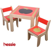 Hessie Kid Furniture Living Room Square Table and Chairs Set with Chalkboard Attached - Red Apple