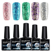 Modelones Soak Off Gel Nail Polish Glitter,5 Colours