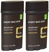 Every Man Jack Aluminium Free Deodorant Sandalwood Pack of 2