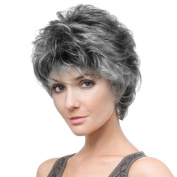 Short Pixie Style Ladies Synthetic hair Wig Grey white layered naturally Fluffy curly women wig for over 60 years old of Paris elegant wig