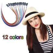 Clip in Grizzly Feather Hair Extensions hairprice colourful for girl fashon Mixed Colour 12pcs