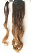 50cm Wavy Curly Ombre Wrap Around Ponytail Synthetic Clip in Hairpieces 95g