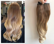 Thick Full Head Ombre Loose Curls Wavy Curly Clip-in Hair Extensions 6pcs Pack