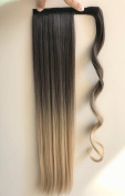 60cm Straight Ombre Wrap Around Ponytail Synthetic Clip in Hair Extensions Hairpieces