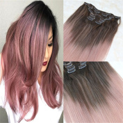 HairDancing 60cm 7Pcs 120g Ombre Clip on Hair Extensions Medium Brown Fading to Colour Rose Gold Remy Clip in Hair Extensions Balayage Clip in Extensions