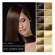 Haironline 41cm - 60cm Clip in 100% Remy Human Hair Extensions Grade 7A Quality Full Head Thick Long Soft Silky Straight 8pcs 18clips for Women Fashion