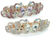 Rhinestone Barrettes - Set of 2 Jewelled Butterfly Hair Clips - Pink Crystals and Clear Crystals - Gold Tone Barrett