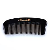 Breezelike No Static Black Buffalo Horn Pocket Fine Tooth Comb