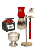 Zeva 5 Pc. De Safety Razor Shaving Gift Set / Kit #112red
