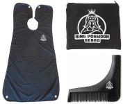 KING POSEIDON Beard Bib Catcher with Beard Shaping Tool, Black