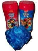 Paw Patrol Barking Berry Body Wash & Shampoo Bundle with Bath Mesh Sponge