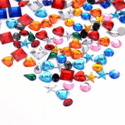 WXJ13 Acrylic Craft Jewels Flatback Rhinestones Craft Gemstone Star Square Round Heart Oval and Water Drop Shaped Rhinestones, 780 Pieces