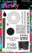 Dare 2B Artzy Bright Birthday (16204) Clear Cling Rubber Stamp Set