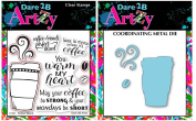 Dare 2B Artzy Perfect Blend Clear Cling Rubber Stamp Set (17241) and Bronze Steel Die (D40) Bundle 2 Items
