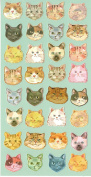 Colourful Cat Kitty Kitten Stylish Head Craft Scrapbooking Sticker Set for Diary, Album