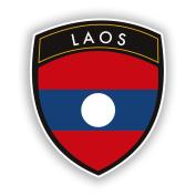 2 x 10cm/100mm Laos Flag Design Vinyl Stickers Travel Luggage #10657