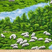 1 Yard - In the Meadow Sheep Allover 100% Cotton Fabric - Officially Licenced (Great for Quilting, Sewing, Craft Projects, Throw Pillows, Quilts & More) 1 Yard X 110cm