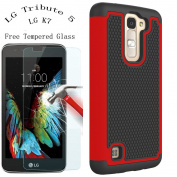 LG K7 Case, LG Tribute 5 Armour Case, GreenElec [Free Tempered Glass] Hybrid Dual Layer Defender Protective Case With Slim Fit Shock Absorption Protection For LG K7 / LG Tribute 5