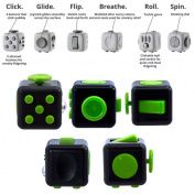 Fun Fidget Toy s 6 Sided Cube Adult Anxiety Stress Relief Cube Toys Gift-Black/Green