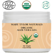 Organic Aloe Vera Gel 120ml by Mary Tylor Naturals, USDA Certified Organic, Premium Grade, 100% Pure, Natural & Cold Pressed - For Face, Skin, Hair, Sun Burns, Damaged Skin and Acne