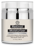 Elite Naturals Retinol Moisturiser Cream for Face and Eye Area 50ml - Hyaluronic Acid, Shea Butter and Vitamin E, Anti Ageing Skin Care Formula That Reduces Wrinkles Fine Lines, Best Day & Night Cream