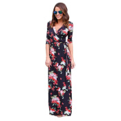 Hot Sale!Women Long Dress,Canserin Women's 2017 New V Neck Boho Floral Print Long Maxi Dress Evening Party Sundress Beach Dress