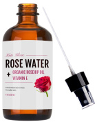 Rose Water Facial Toner & Spray + Organic Rosehip Oil + Vitamin E (120ml) by Kate Blanc. Instant Freshness for Face. Natural Astringent. Makeup Remover. Reduce Red Spots. Softer Skin With Glow.