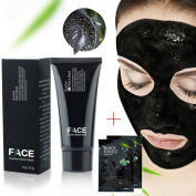 FaceApeel Blackhead Remover Mask Tube 60g (60ml) + 2 Black Forest Spa Strip 6g (5ml) - Premium Mud Facial Mask Set