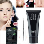 FaceApeel Blackhead Remover Mask Tube 60g (60ml) + Black Forest Spa Strip 6g (5ml) + Professional Blackhead Extractor Tool - Premium Mud Facial Mask Set