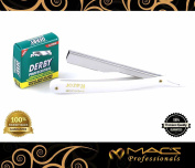 MACS PROFESSIONAL Barber Straight Edge Razor with Hi-Chromium Derby 100 Count Blades - Made of Platinum Stainless Steel -With Easy Blades Replacement Mechanism -Macs-045B1