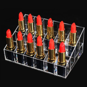 Gospire 24 Stand Acrylic Cosmetic Makeup Holder Organiser for Lipstick, Brushes Clear Case Display Rack Clear Transparent