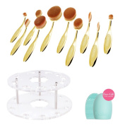 Docolor 10pc Oval Makeup Brush Set with Brush Holder Cosmetic Storage Organiser and Cleaner Tool