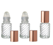 Grand Parfums Coloured Glass Aromatherapy 4ml Rollon Bottles with Glass Roller and MATTE COPPER CAPS