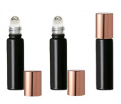 Grand Parfums Coloured Glass Aromatherapy 10ml Rollon Bottles with Stainless Steel Roller and MATTE COPPER CAPS