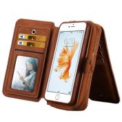 iPhone 6 Plus / 6s Plus Bag, 14cm , Ecsem PU Wallet Coin Purse Change Purse Bag Receive Bag Phone Bag - Brown