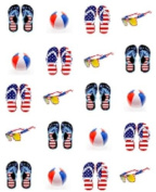 40 Red White & Blue ( 4th of July) Flipflops Nail Art Decals