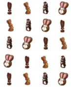 40 Easter Chocolate Bunnies Nail Art Decals