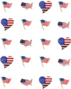 40 American USA Flag Heart Nail Art Decals