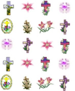 Easter Lillies & Crosses Nail Art Decals