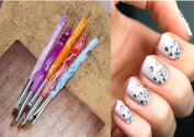 DancingNail 5Pcs 2 Way Acrylic UV Gel Design Nail Art Tips Painting Brush Dotting Pen set # Send At Random Colour