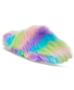 Betsey Johnson XOX DreamWorks Trolls Rainbow Splash Fuzzy Slippers - Size US Medium 7/8