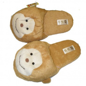 Fuzzy Soft Monkey Plush Cushion Indoor Outdoor Non Slip Sole Slippers Brown -M