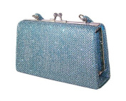 Girls blue sparkly clip top party handbag