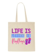 Life Is Better In Flipflops Summer Statement Tote Bag Shopper