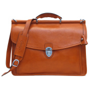 Firenze Dowel Messenger Brief In Olive (Honey) Brown Italian Calfskin Leather By Floto