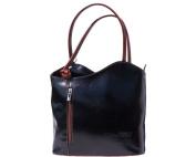 Ladies Italian Leather Handbag,Convertible Rucksack, Backpack In Black & Brown