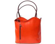 Ladies Italian Leather Handbag,Convertible Rucksack, Backpack In Orange & Brown