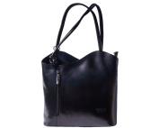 Ladies Italian Leather Handbag,Convertible Rucksack, Backpack In Black