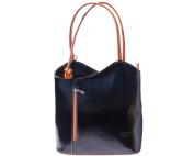 Ladies Italian Leather Handbag,Convertible Rucksack, Backpack In Black & Tan